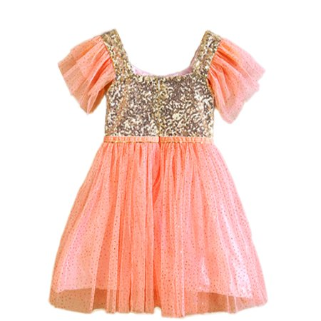 StylesILove Little Girls Princess Ballerina Party Gold Sequin Tulle Flower Dress - 6 Colors (90/6-12 months, Coral)