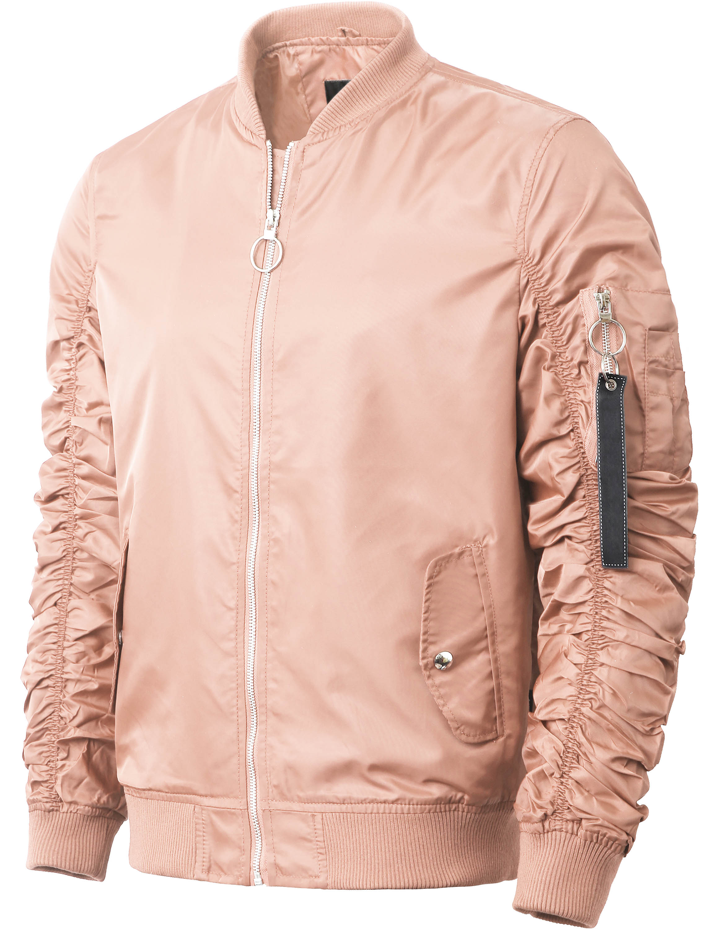 Mens Ruched Bomber Jacket Lightweight Waterproof Nylon Windbreaker