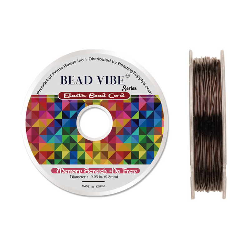 Elastic Bead Cord, Beadvibe Series Memory Stretch Non Fray, Brown 0.8mm Diameter 82ft