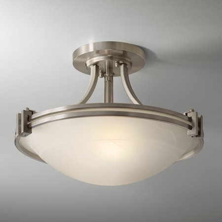 "Possini Euro Design Art Deco Ceiling Light Semi Flush Mount Fixture Brushed Nickel 16"" for Bedroom Kitchen"