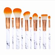 FAGINEY 10 Pcs Makeup Brushes Premium Synthetic Foundation Powder Concealers Eye Shadows Marble Pattern Makeup Brush Set
