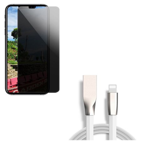 Privacy Screen Protector w USB Cable for iPhone XR - Tempered Glass Curved Anti-Spy Anti-Peep, 6ft Flat Charger Cord Power Flat Tempered Glass