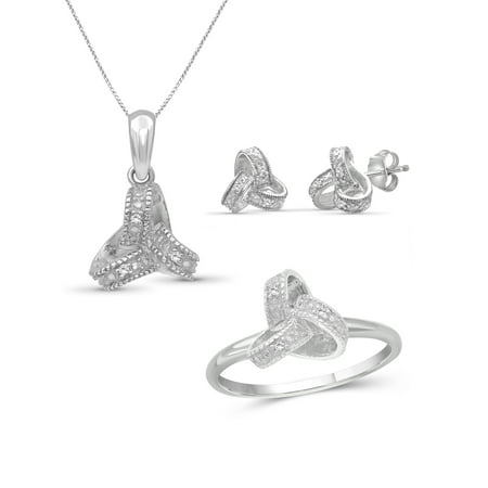 Accent Jewelry Set (JewelersClub White Diamond Accent Sterling Silver 3-Piece Love Knot Jewelry)