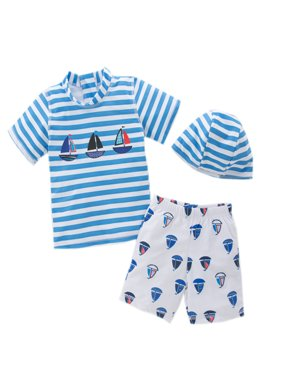 stylesilove Little Boys Stripe Boats Rashguard Swimsuit and Shorts With Hat 3 Pcs Set (4/4-5 Years)
