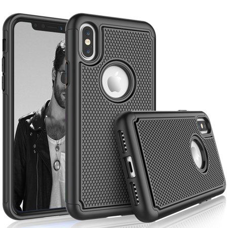 Black Silicon Case Screen - Cases For iPhone XR / iPhone XS / iPhone Xs Max / iPhone X, Tekcoo [Tmajor] Shock Absorbing [Black] Hybrid Rubber Silicone & Plastic Scratch Resistant Bumper Grip Cute Sturdy Hard Cases Cover