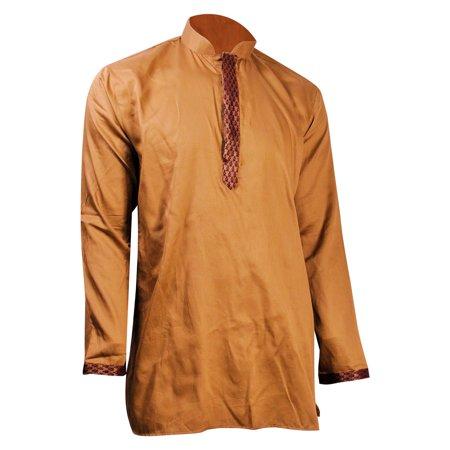 Mandarin Collar Cotton (Hijaz Tan Brocade Accented Men's Short Cotton Kurta with Mandarin Collar )