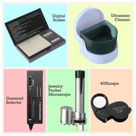 (Jewelry Tool Set Digital Scales Loupes / LED Audio Diamond Gemstone Tester Selector / Ultrasonic Cleaner / LED Jeweler Loupe Magnifier 40X / 100X Jewelry Pocket Microscope Loupe Magnifier)