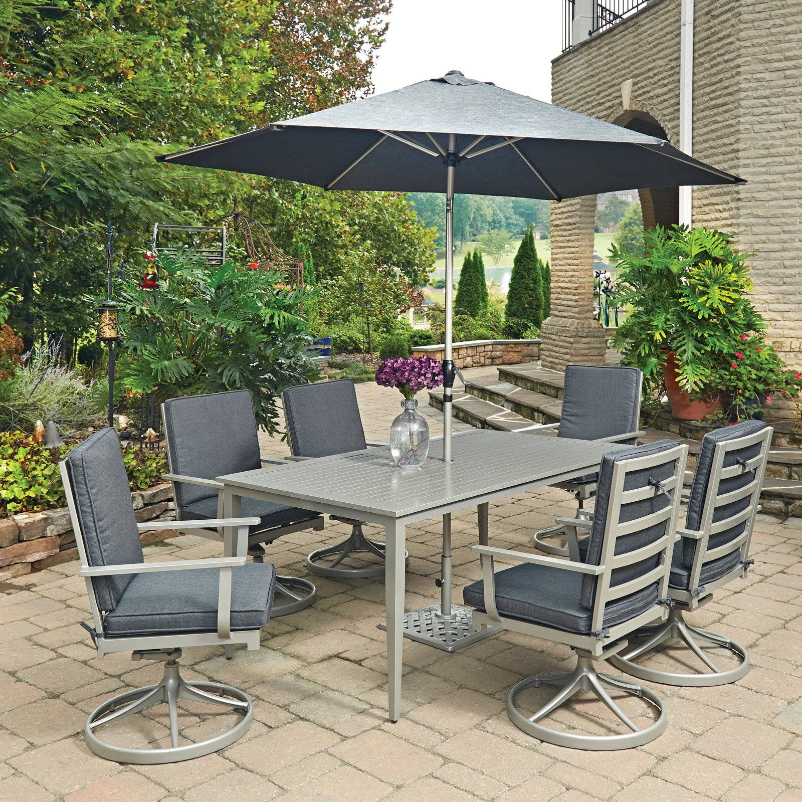 South Beach 9 Pc. Rectangular Outdoor Dining Table; 6 Swivel Rocking Chairs with Umbrella & Base