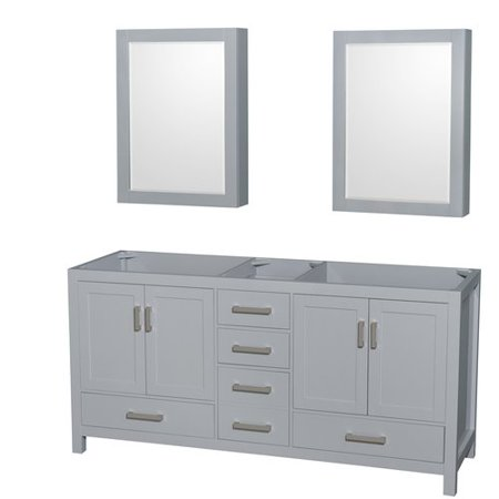 Wyndham Collection Sheffield 72 inch Double Bathroom Vanity in Gray, No Countertop, No Sink, and Medicine - Double Sink Chest