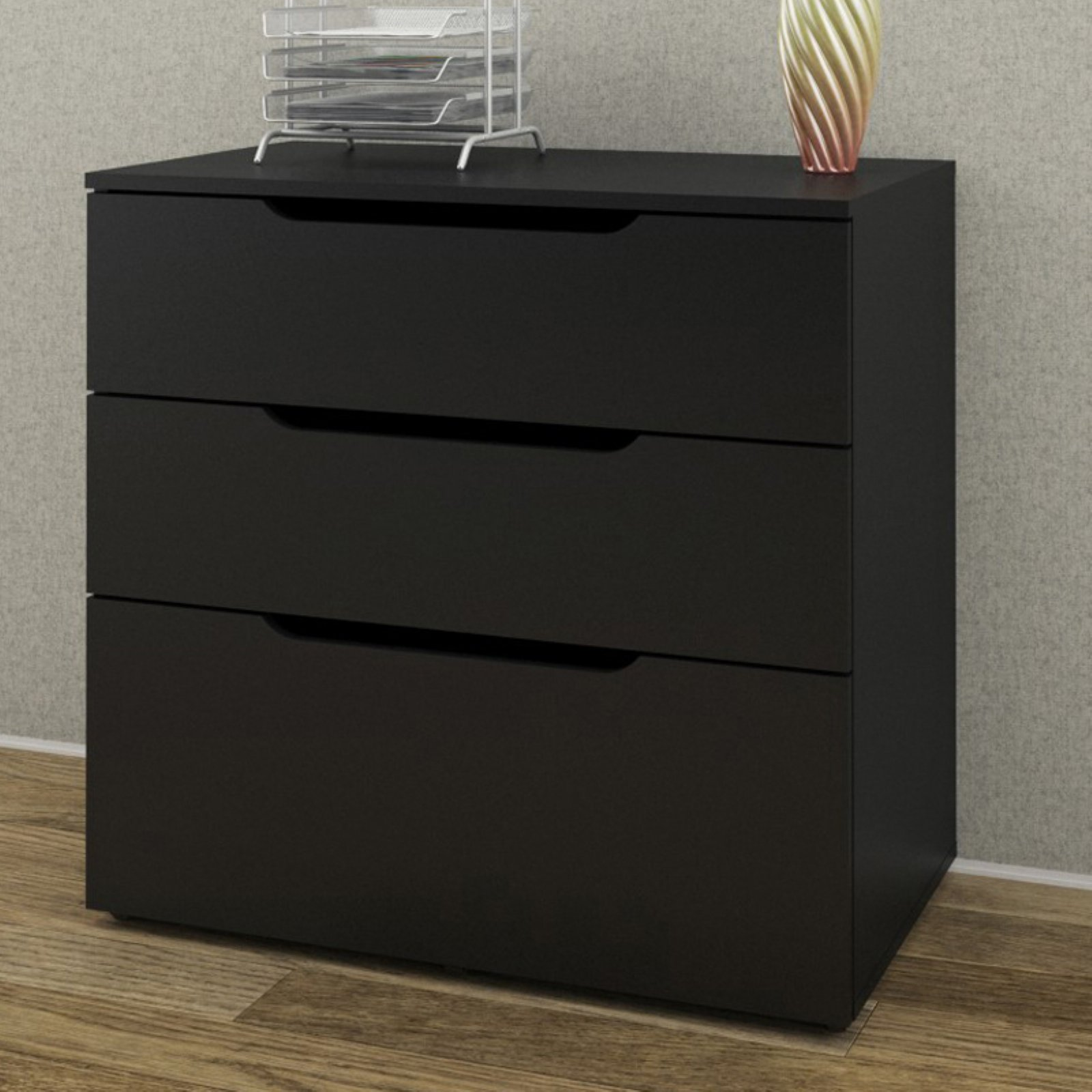 Nexera 3 Drawer Vertical Wood Filing Cabinet, Black