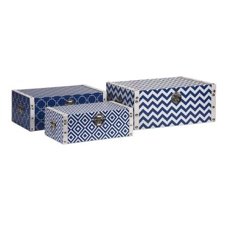 set of 3 navy blue and white decorative storage trunks 1775 - Decorative Storage Trunks
