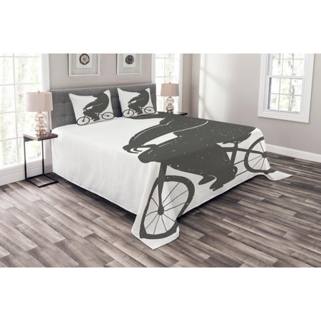 001466adde43 Vintage Bedspread Set, Bear on a Bike Cute Humor Parody Stylized Modern  Funny Cycling Hipster Artwork Print, Decorative Quilted Coverlet Set with  ...