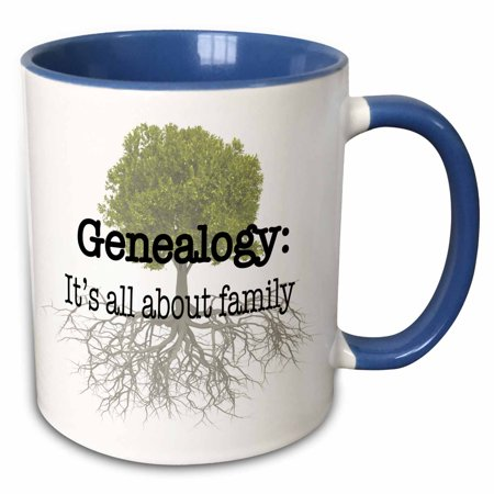 3dRose Genealogy it�s all about family - Two Tone Blue Mug, 11-ounce