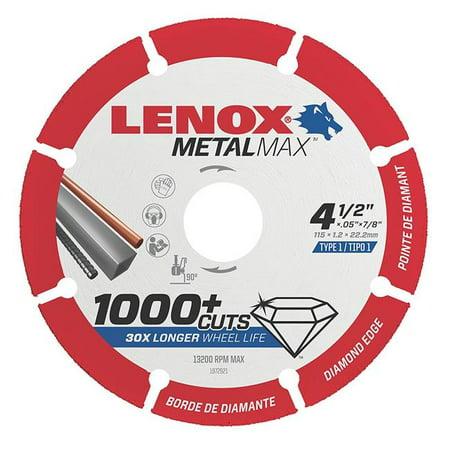 Lenox 433-1972921 4.5 in. x 0.875 in. Metal Max Die Angle Grinder Diamond Cutoff Wheel