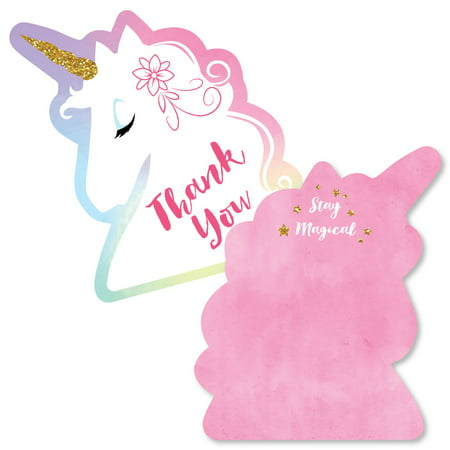 Rainbow Unicorn - Shaped Thank You Cards - Magical Unicorn Baby Shower or Birthday Party Thank You Note Cards with Envel](Thank You Notes For Baby Shower)