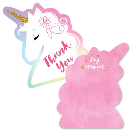 Rainbow Unicorn - Shaped Thank You Cards - Magical Unicorn Baby Shower or Birthday Party Thank You Note Cards with Envel - Unicorn Thank You Cards