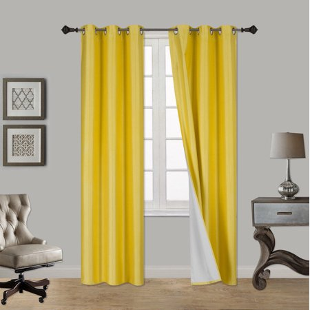 "(SSS) 2-PC Yellow Solid Blackout Room Darkening Panel Curtain Set, Two (2) Window Treatments of 37"" Wide x 84"" Length Each Panel"