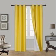 """(SSS) 2-PC Yellow Solid Blackout Room Darkening Panel Curtain Set, Two (2) Window Treatments of 37"""" Wide x 84"""" Length Each Panel"""