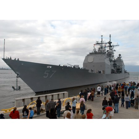 Framed Art For Your Wall Family members and friends wave good-bye from the pier as the US Navy (USN) TICONDEROGA CLASS: Guide 10x13 Frame