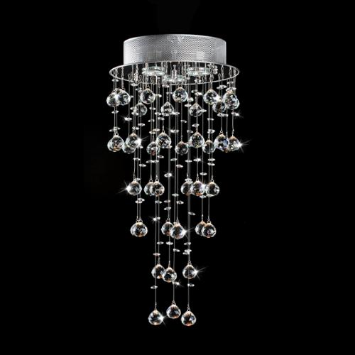 The Lighting Store Floating Crystals and Chrome Flush-mount Chandelier