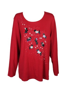 9892f8da28a Product Image Karen Scott Plus Size Red Holiday Dog Graphic T-Shirt 2X