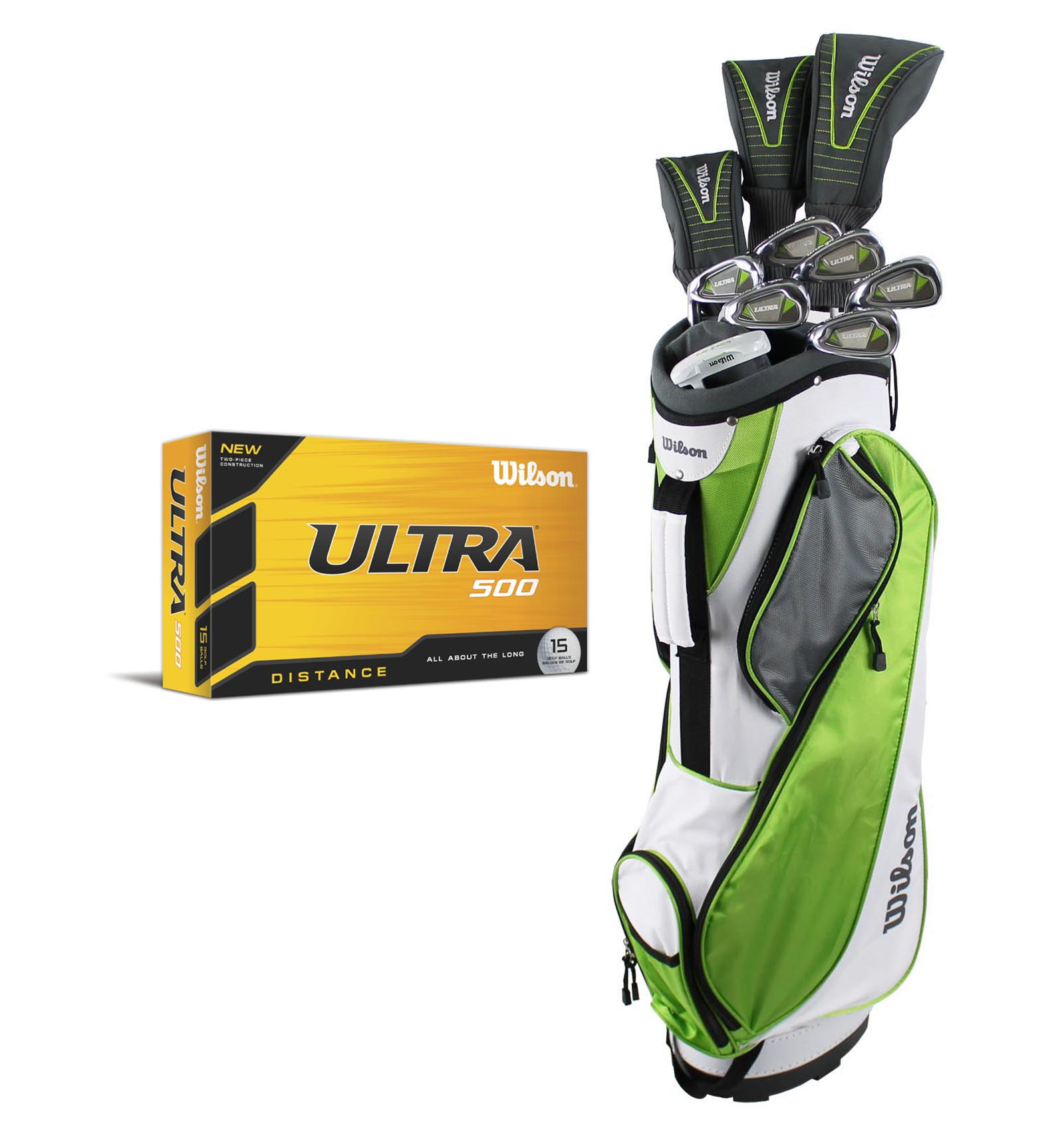 WILSON ULTRA Womens Ladies Left Handed Complete Golf Club Set w/ Bag + 15 Balls