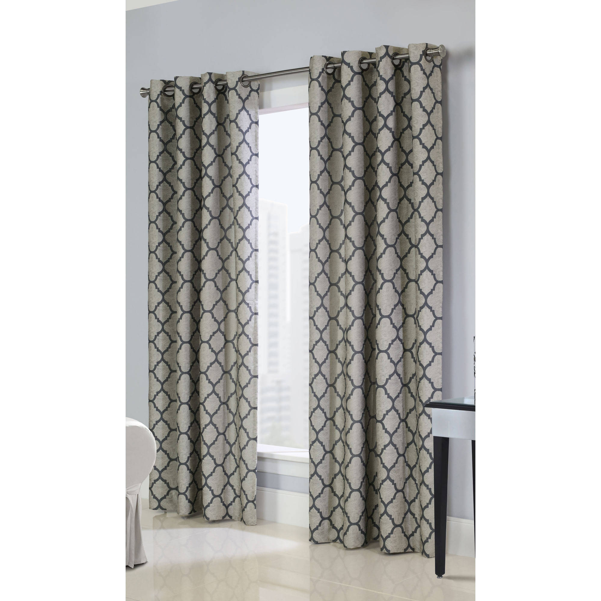 Common Wealth Home Fashions 71258-109-84-103 Clover Couture Jacquard Panels, 84' , Natural