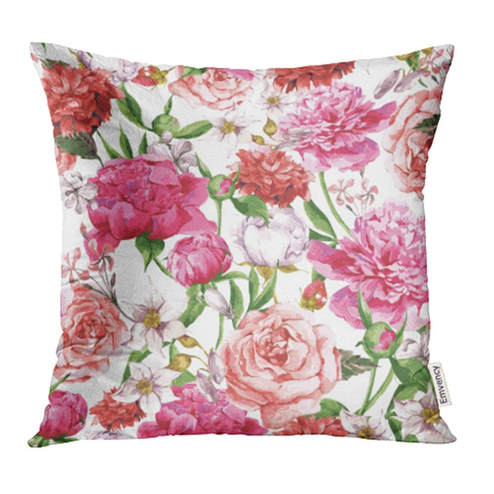 CMFUN Flower Summer Watercolor Pattern Pink Peonies Roses on White Peony Pillowcase Cushion Cases 16x16 inch