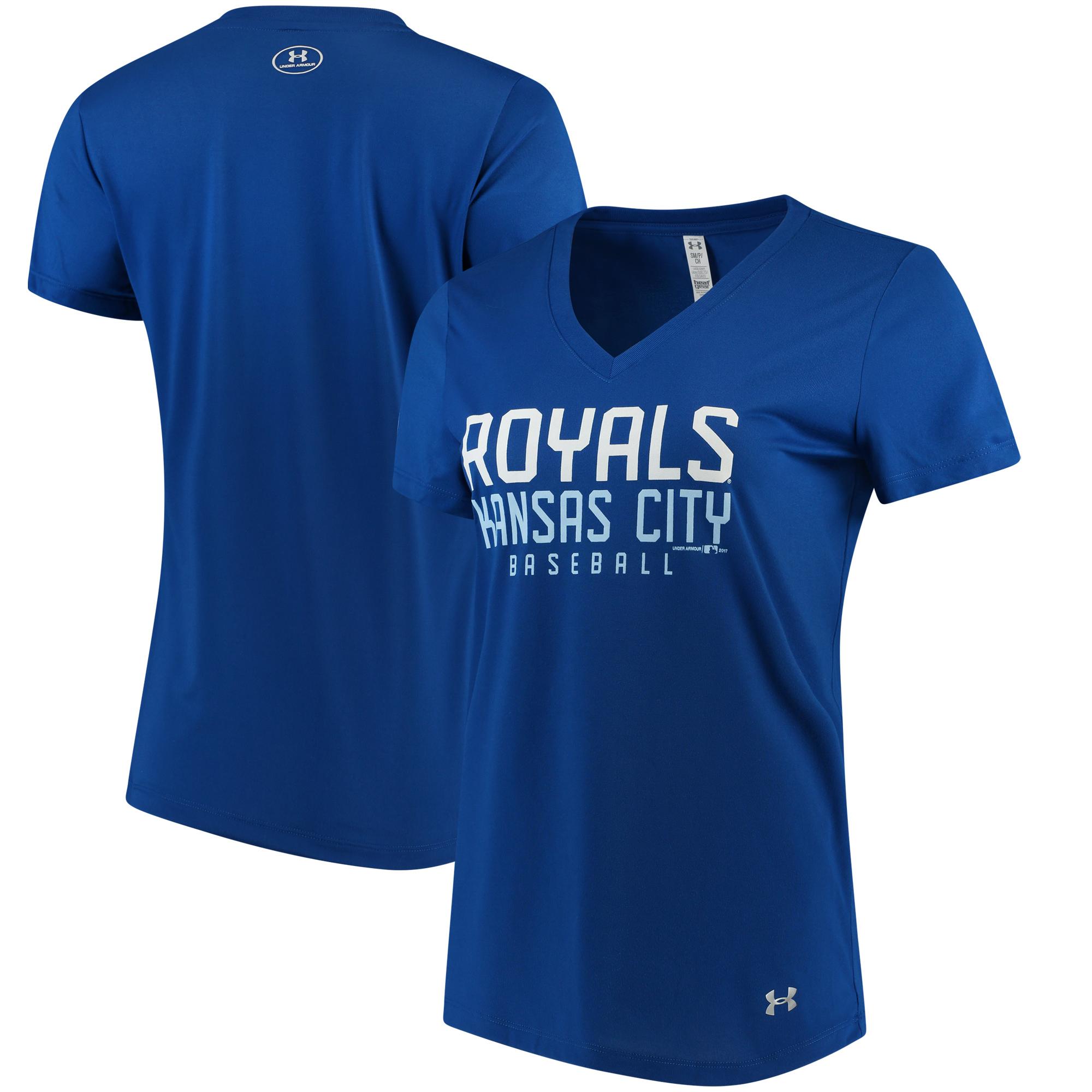 Kansas City Royals Under Armour Women's Tech Performance V-Neck T-Shirt - Royal