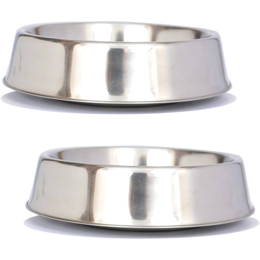 2-Pack Anti Ant Stainless Steel Non Skid Pet Bowl For Dog or Cat, 32 Oz, 4 Cup