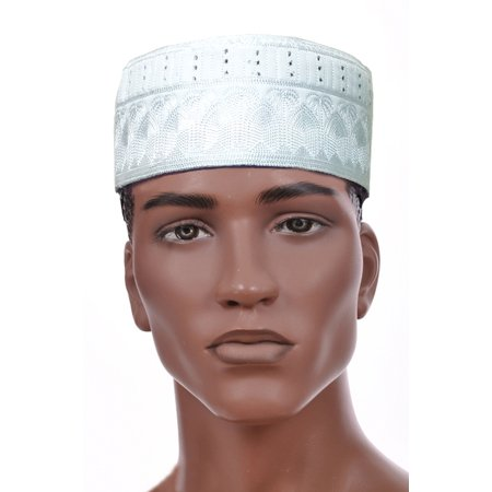 Embroidered Wildlife Scene Cap Hat (White Kofia Hat African Embroidered Kufi Cap )