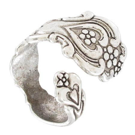 Antiqued Silver Tone Flatware Heart Swirl Spoon Adjustable Ring