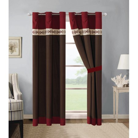 4-Pc Brice Floral Damask Shell Butterfly Embroidery Stripe Curtain Set Burgundy Brown Beige Drape Sheer (Brown Damask Stripe)