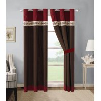 4-Pc Brice Floral Damask Shell Butterfly Embroidery Stripe Curtain Set Burgundy Brown Beige Drape Sheer Liner