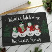 Winter Welcome Personalized Oversized Doormat, 2 Kids