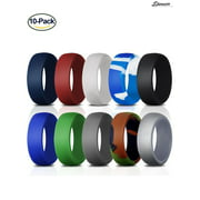 "Spencer Pack of 10 Silicone Rings for Men Durable Soft Rubber Wedding Bands Multiple colors & sizes for athletes,travelers & adventurers ""Size 9"""