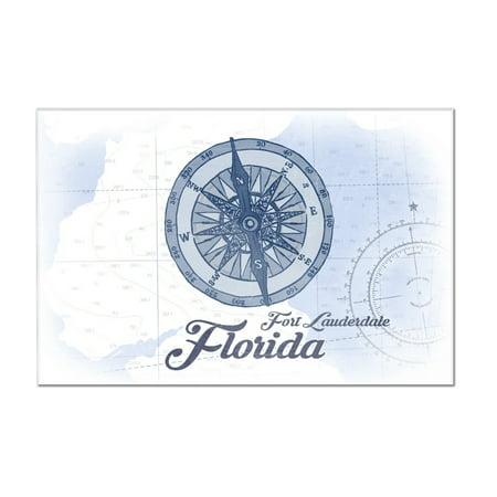 Fort Lauderdale, Florida - Compass - Blue - Coastal Icon - Lantern Press Artwork (12x8 Acrylic Wall Art Gallery Quality)