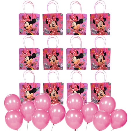 12pc Disney Minnie Mouse Party Favor Supply Goody Loot Gift Bags w/Free