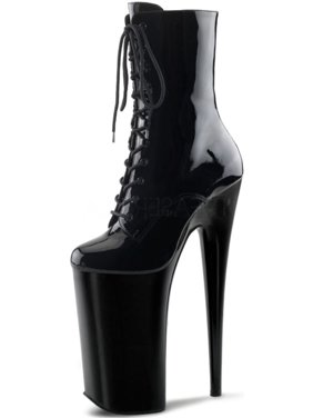 192419402a07 Product Image Glossy Black Ankle Boots with Extreme 10 Inch Heel and  Bevelled 6.25   Platform