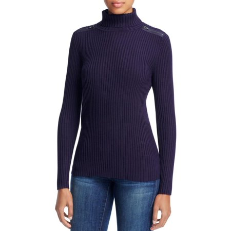 Love Scarlett Womens Turtle Neck Shoulder Zip Turtleneck Sweater
