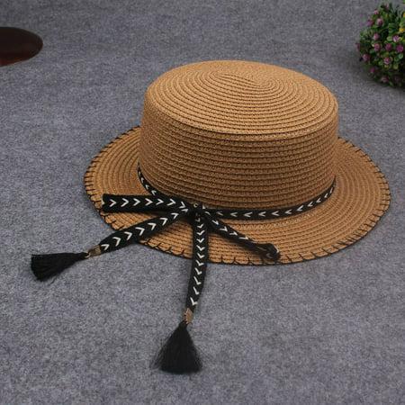 Women Summer Sun Straw Hat Removable Bow Tassel Adjustable Flat Summer Panama Beach Holiday Cap