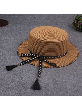 1de1c2e9eaad9 Product Image Women Summer Sun Straw Hat Removable Bow Tassel Adjustable Flat  Summer Panama Beach Holiday Cap