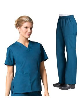 71a8be4c3f9 Product Image Maevn CORE Women's Classic V-Neck Solid Scrub Top & Full  Elastic Band Cargo Scrub