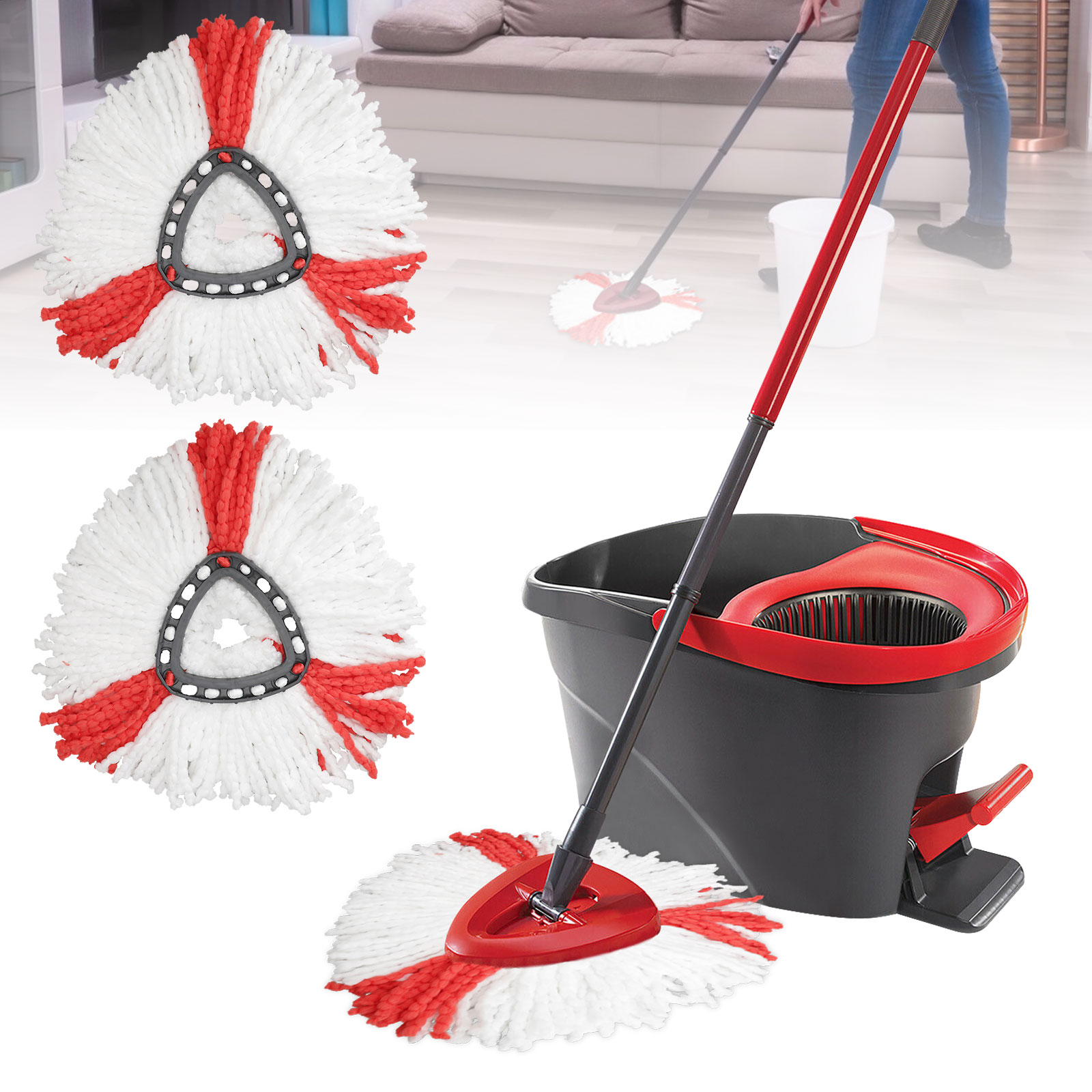1PACK Replacement Head Microfiber Mopping Wring 360° Spin Refill Mop for O-Cedar