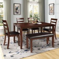 Harperbright Designs 6 piece Dining Room Table Set With 4 Ladder Chairs And Bench Brown