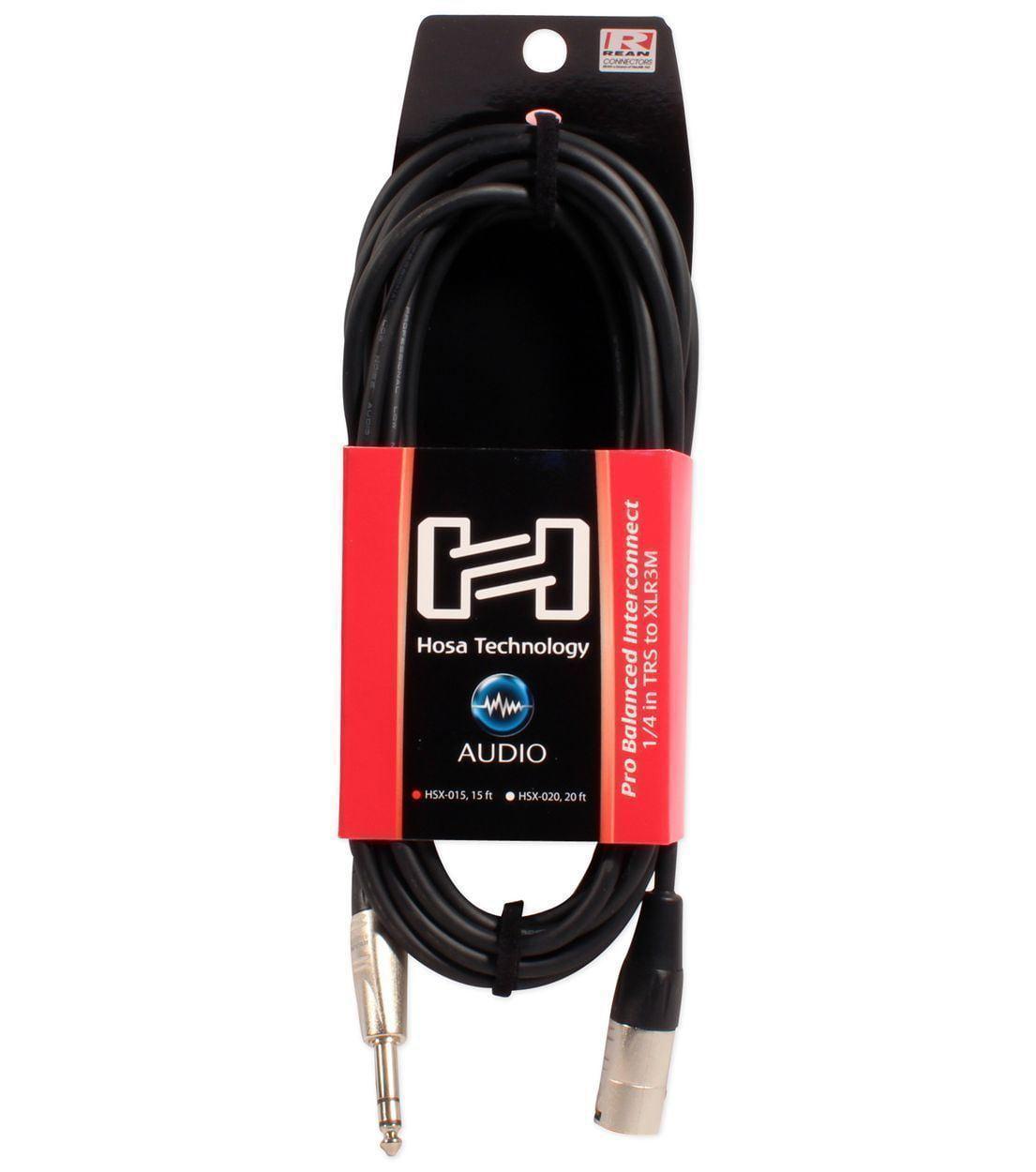 XLR 3 Pin DJ//Pro Audio Speaker Cables Pair of 1//4 TRS Hosa HSX-015 15 Ft 2