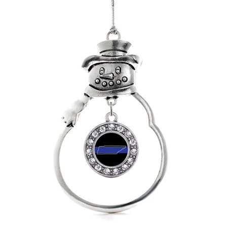 Tennessee Thin Blue Line Circle Snowman Holiday