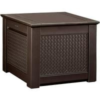 Rubbermaid 1837303 Patio Chic Outdoor Storage Deck Box, Cube, Dark Teak Wicker Basket Weave