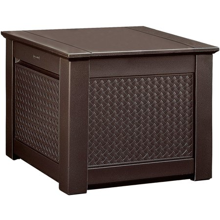 Rubbermaid 1837303 Patio Chic Outdoor Storage Deck Box, Cube, Dark Teak Wicker Basket Weave ()