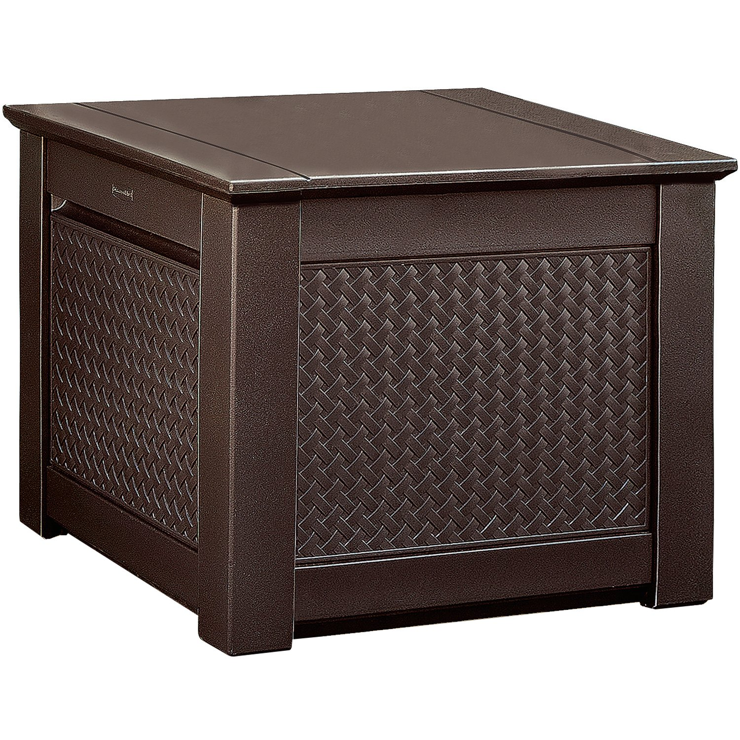 Rubbermaid 1837303 Patio Chic Outdoor Storage Deck Box, Cube, Dark Teak Wicker Basket Weave